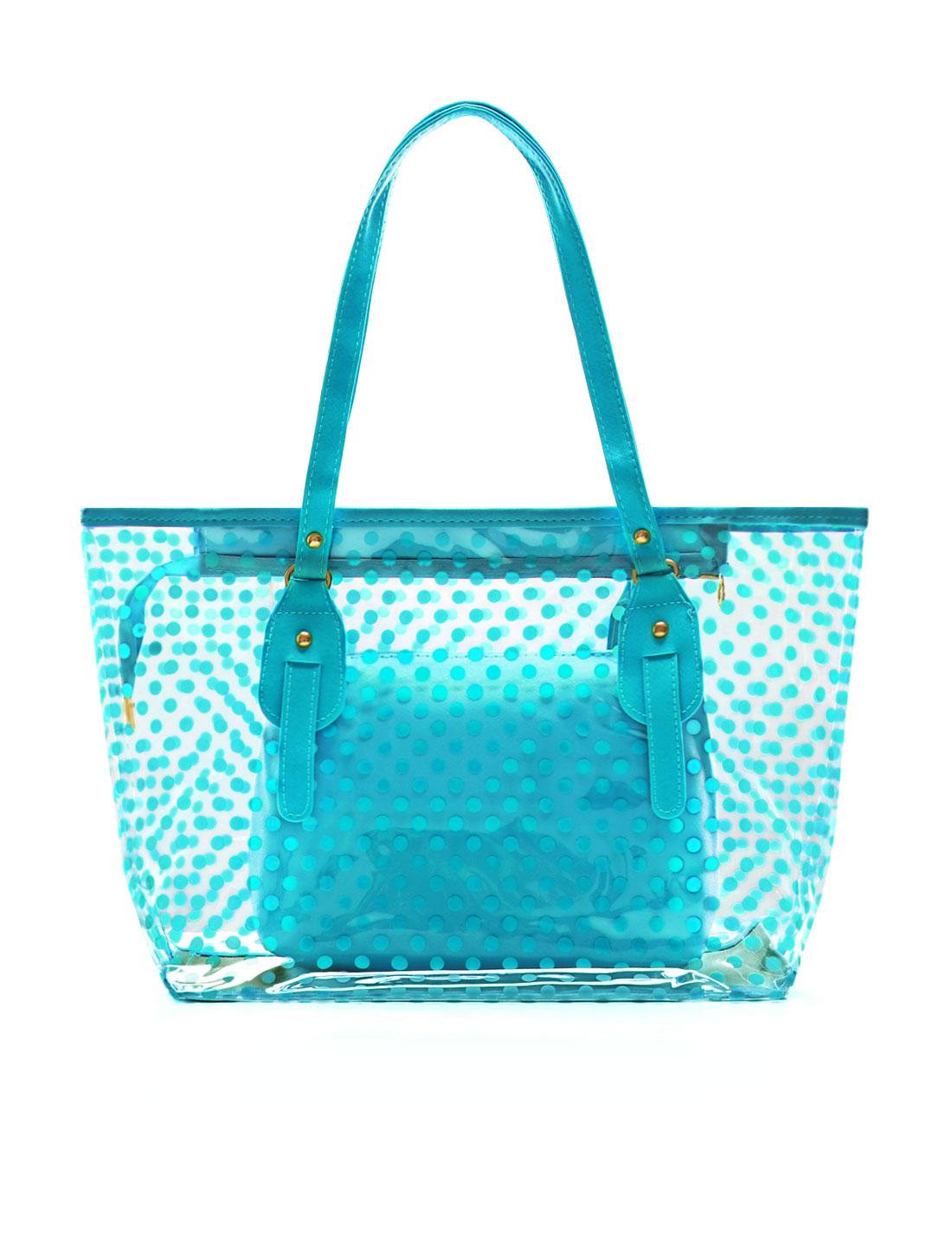 Women Dots Prints Transparent Zip Closed Panel Design Tote w Bag Blue
