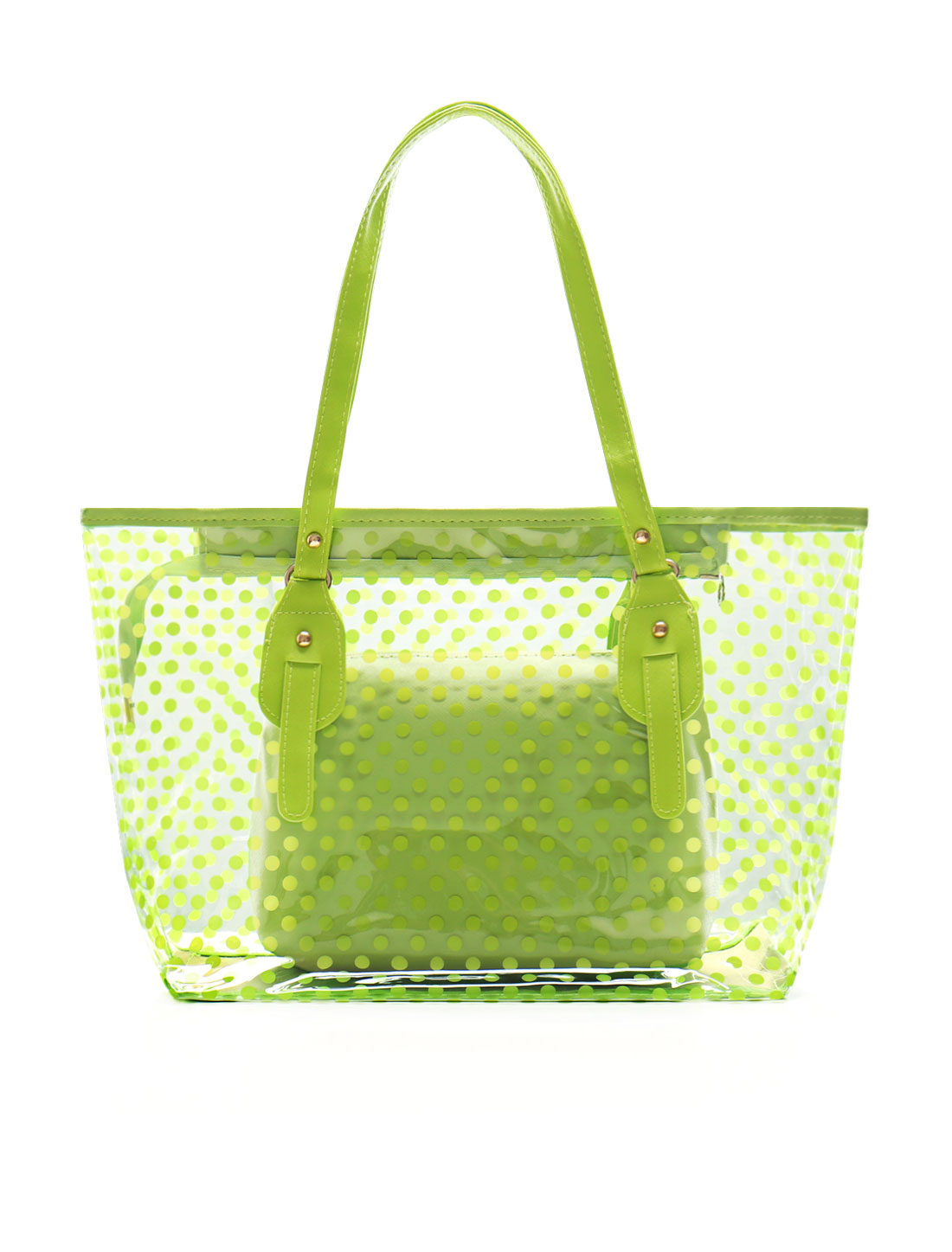 Woman Dots Prints Transparent Zip Closure Shopper Tote w Bag Green