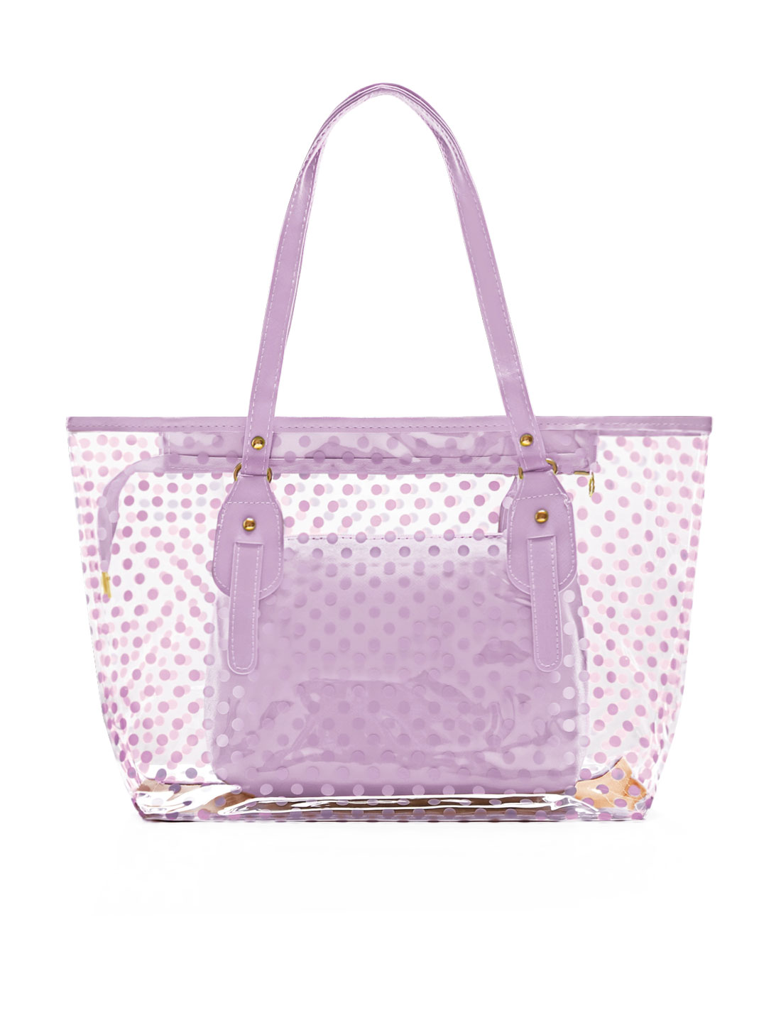 Woman Dots Prints Transparent Zip Closure Panel Design Tote w Bag Lilac