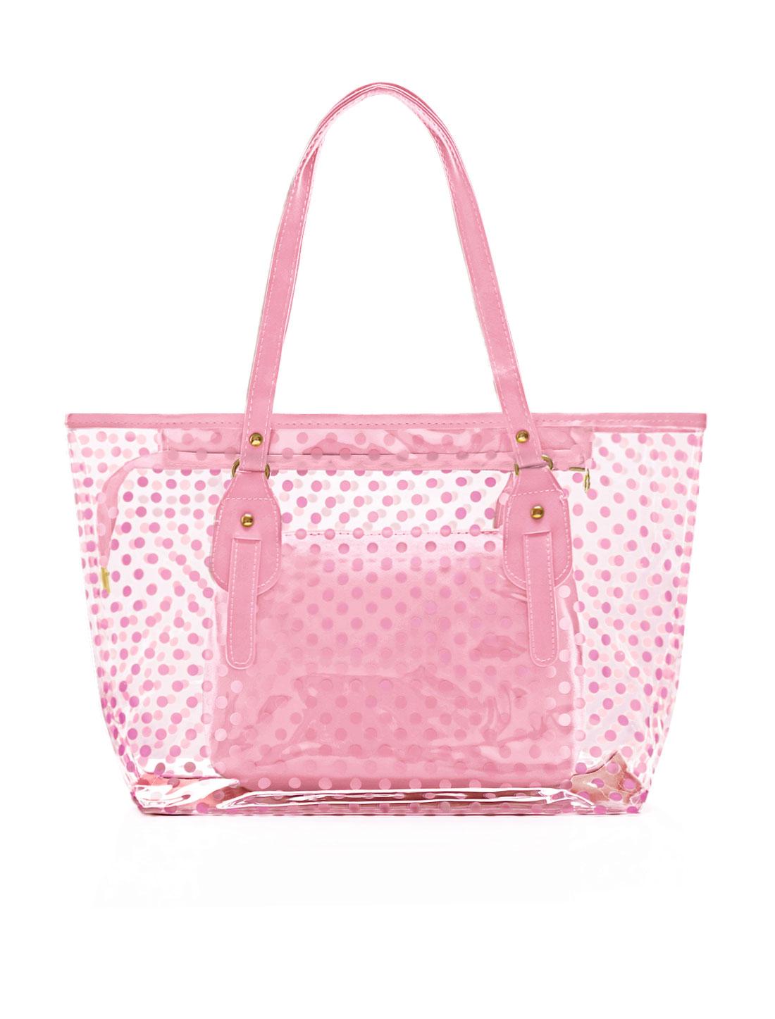 Lady Dots Prints Transparent Zip Closure Panel Design Handbag w Bags Pink