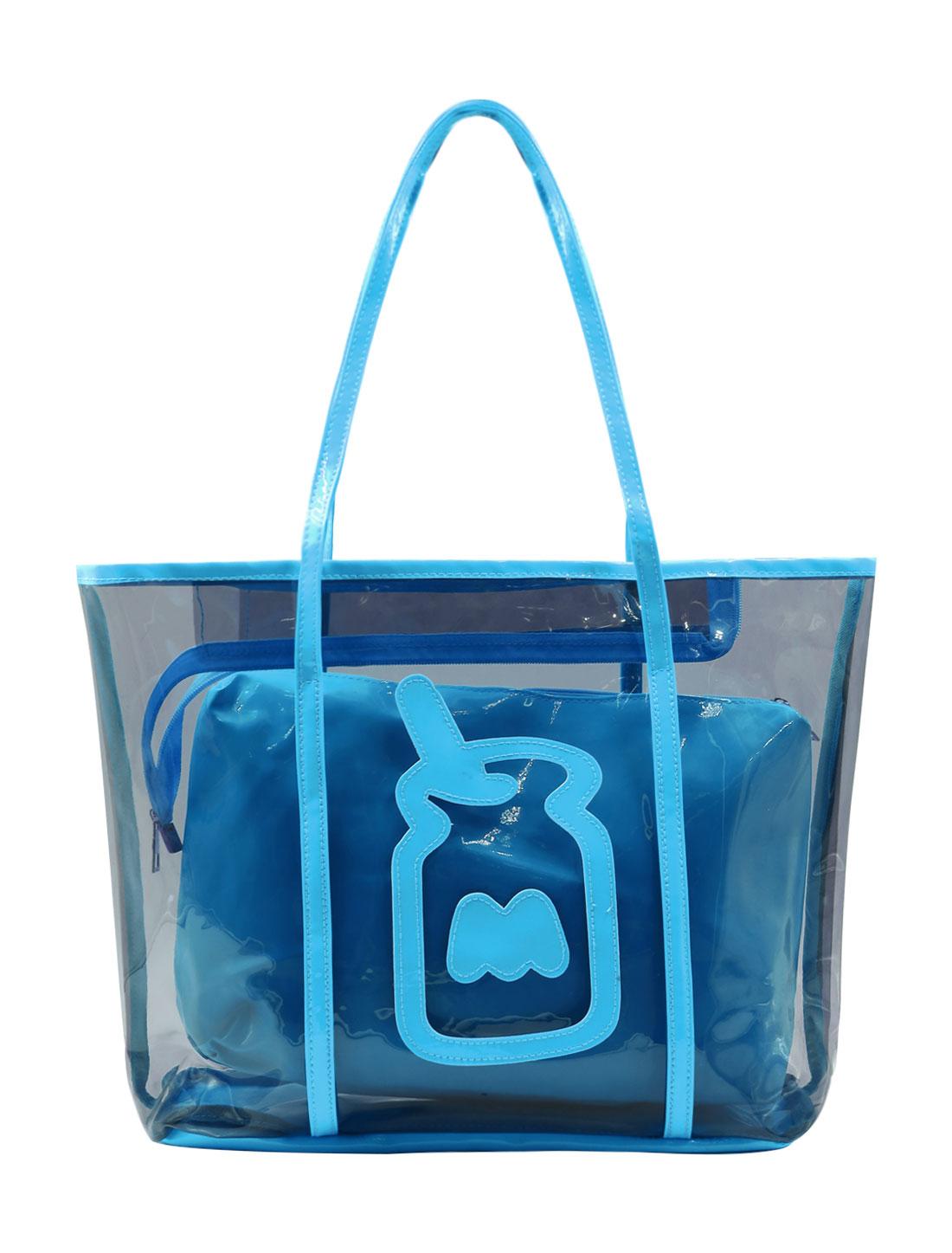 Ladies Zipper Closure Contrast Color Transparent Casual Handbag Blue