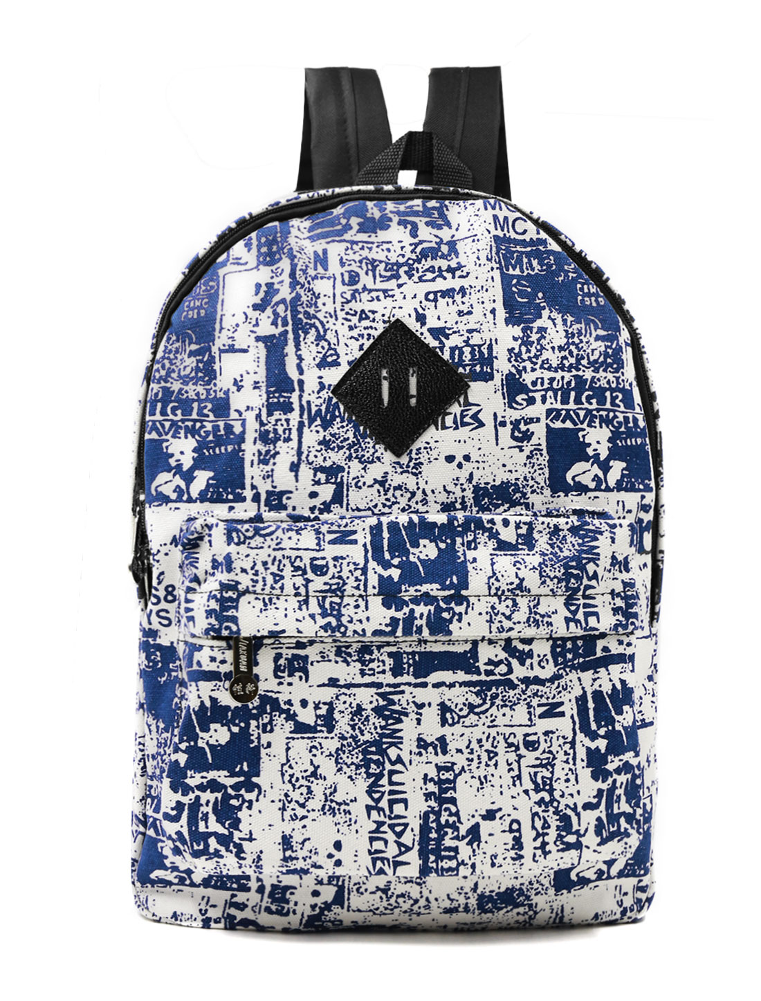Woman Letters Novelty Prints Multi-Pocket Canvas Backpack Blue