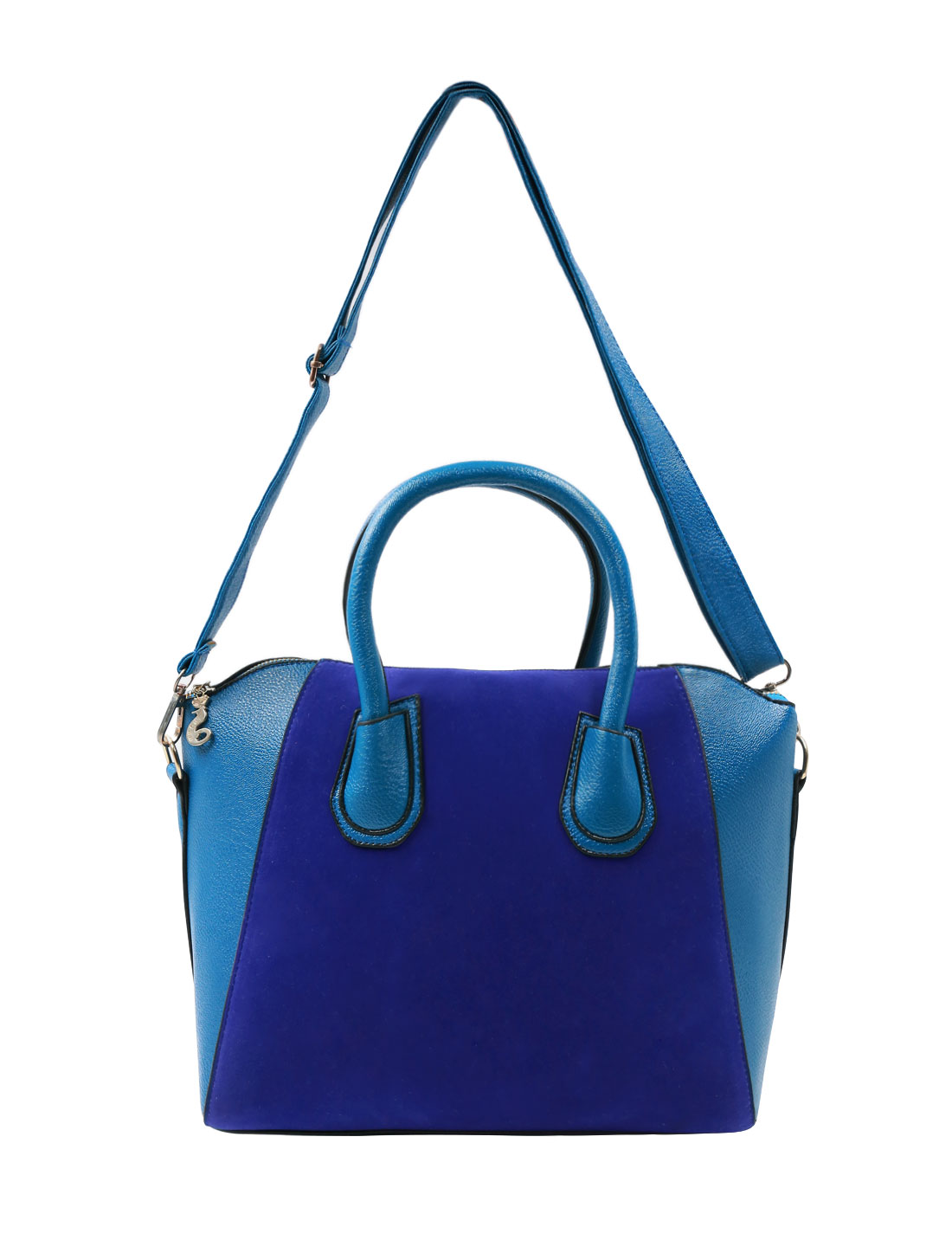 Women Zipper Closed Panel Rivets Decor Casual Shoulder Bags Blue