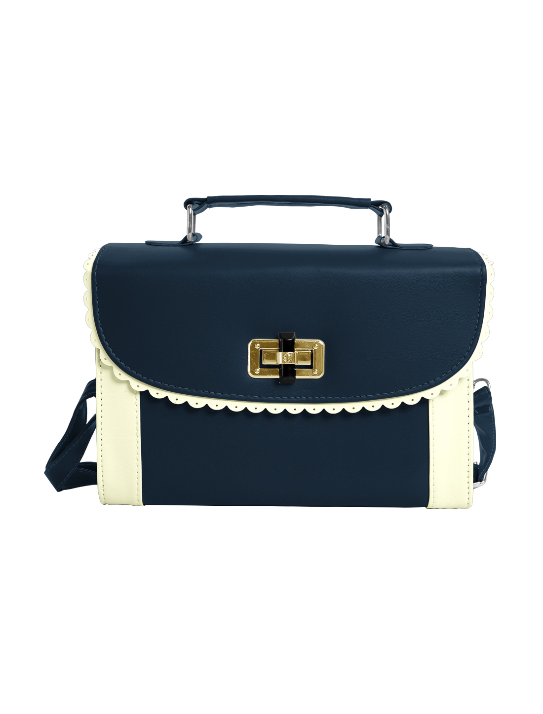 Ladies Contrast Color Scalloped Trim Detail Turn-Lock Clasp Handbag Navy Blue
