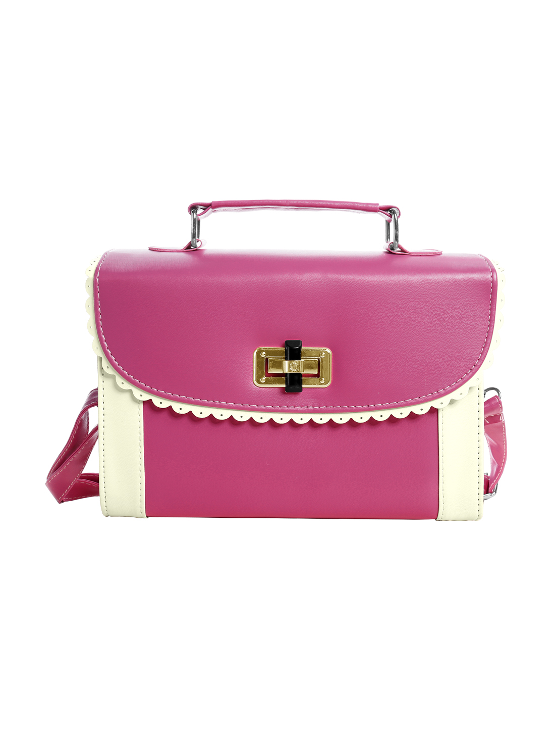Ladies Contrast Color Fully Lined Turn-Lock Clasp Handbags Fuchsia