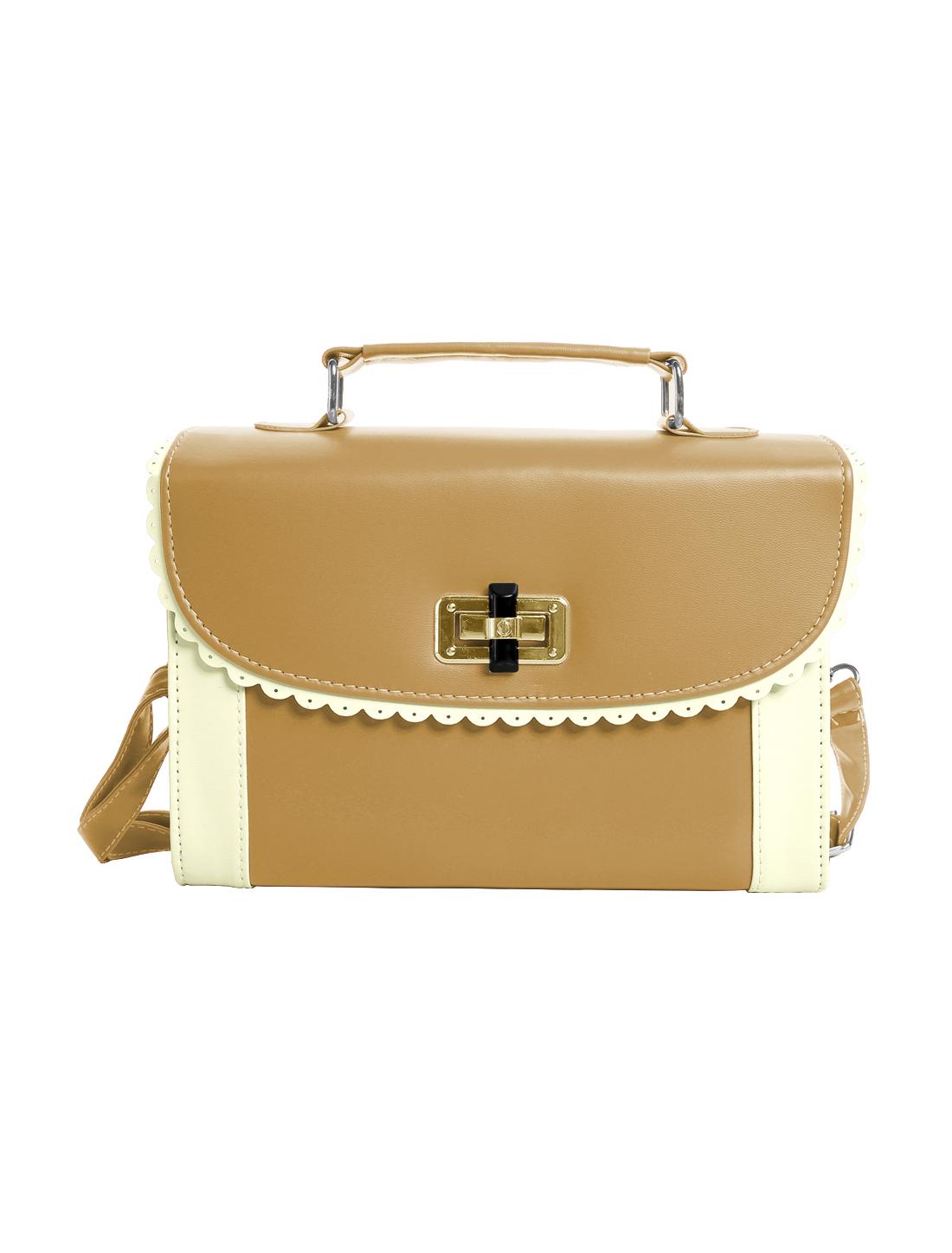 Ladies Scalloped Trim Detail Turn-Lock Clasp Tote Bags Khaki