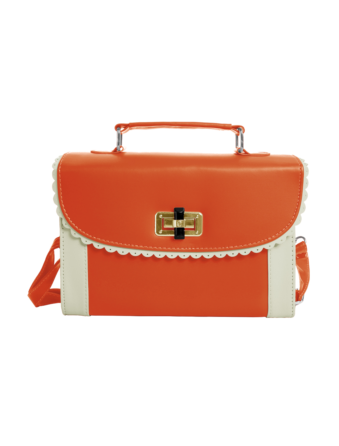 Ladies Fully Lined Scalloped Trim Detail Turn-Lock Clasp Totes Orange