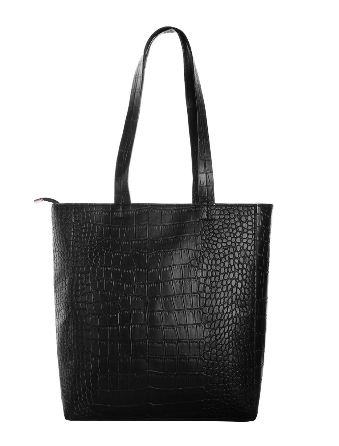 Ladies Crocodile-Skin Effect Design Zipper Closure Casual Totes Black