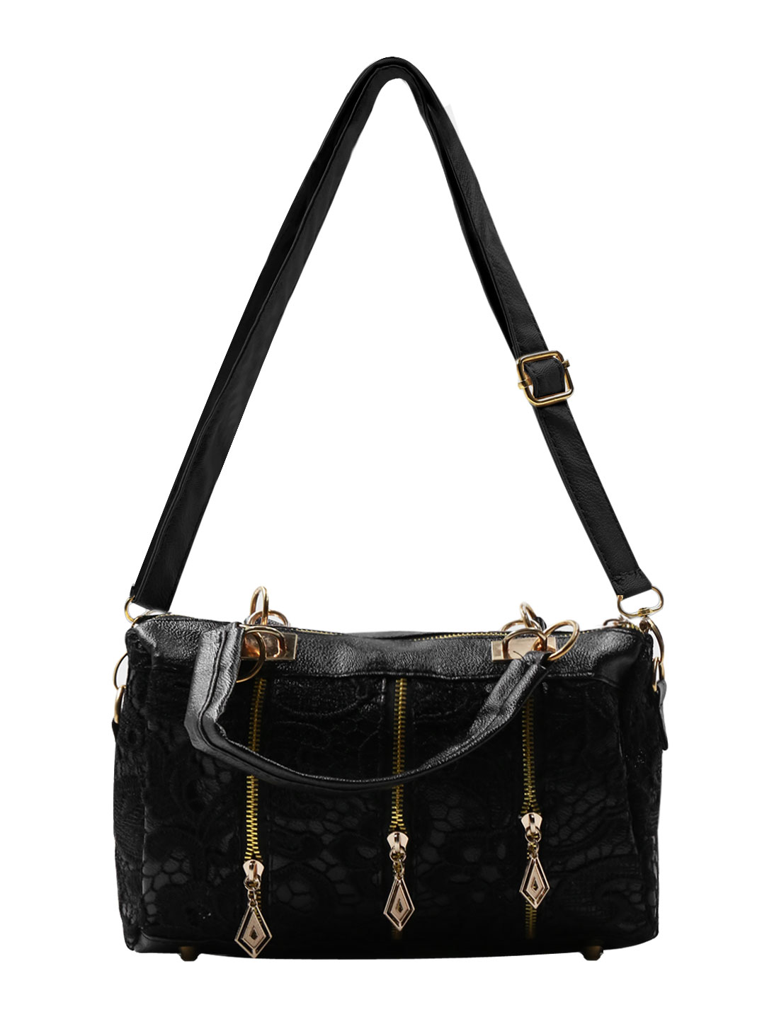 Ladies Floral Design Lace Panel Textured Faux Leather Tote Bag Black