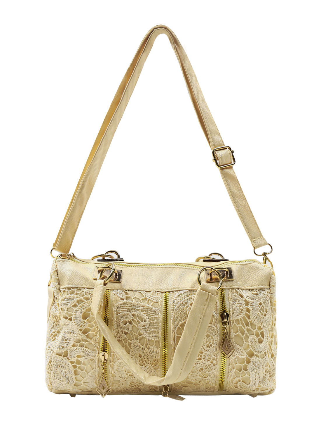 Woman Floral Design Lace Panel Zipper Decor Textured Faux Leather Tote Beige