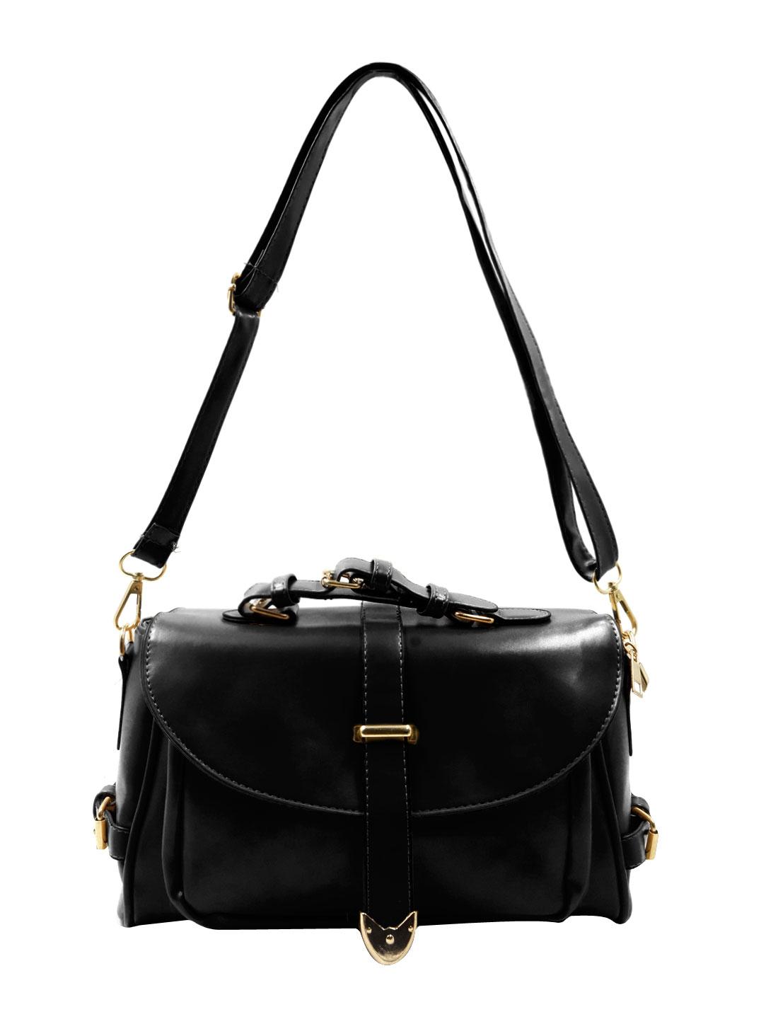 Woman Imiatation Leather Functional Pockets Clutch Shoulder Bag Black