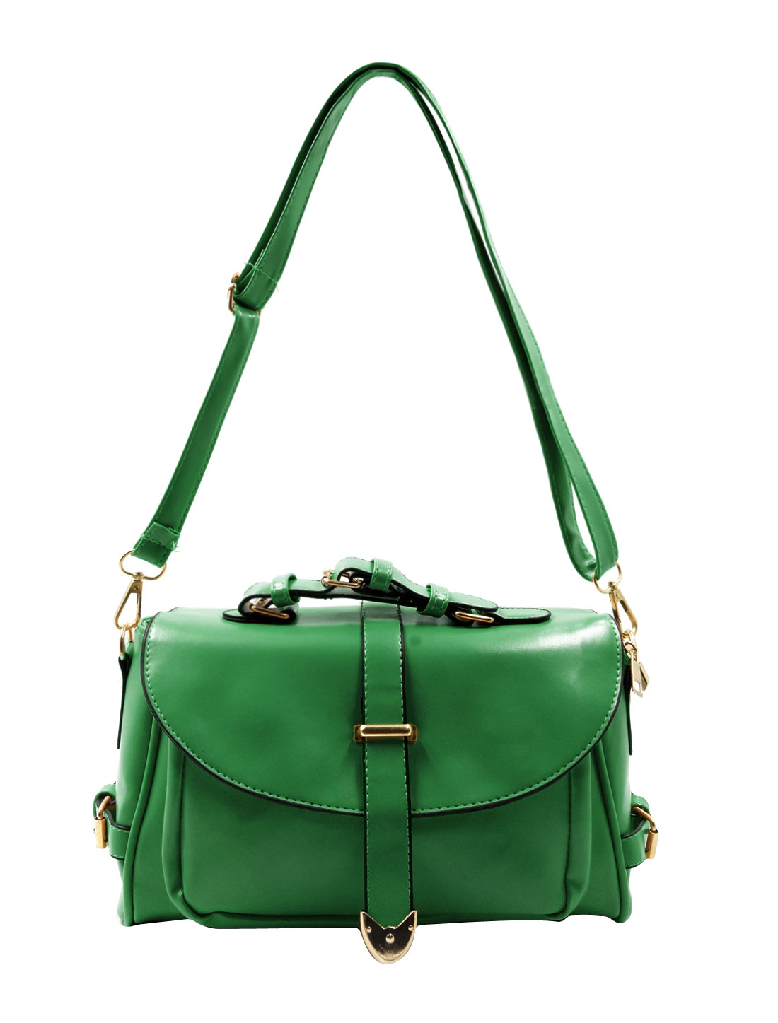 Woman Imiatation Leather Detachable Strap Clutch Shoulder Bag Green
