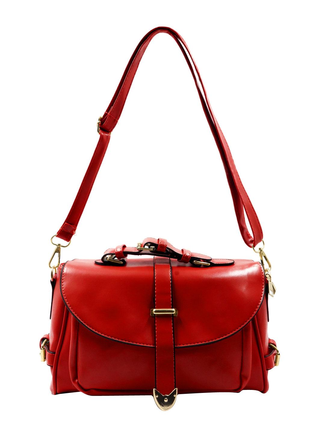 Woman Imiatation Leather Multi-Pockets Crossbody Shoulder Bag Red