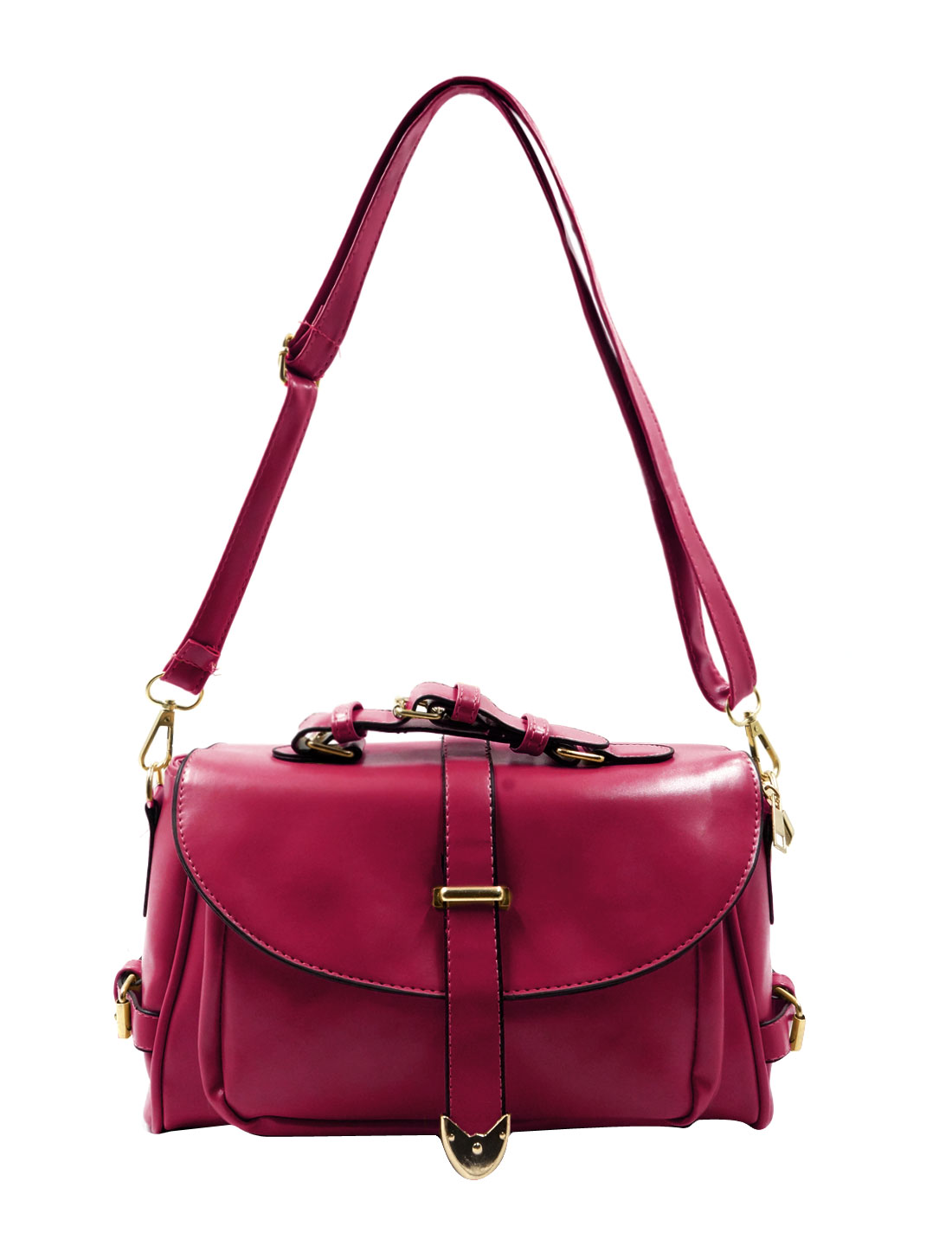 Woman Imiatation Leather Detachable Strap Crossbody Shoulder Bag Fuchsia