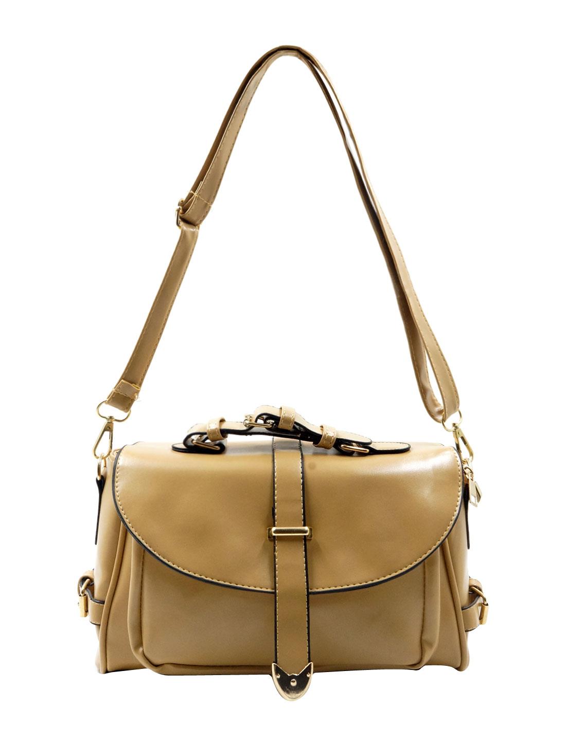 Woman Imiatation Leather Fashion Clutch Crossbody Shoulder Bag Khaki