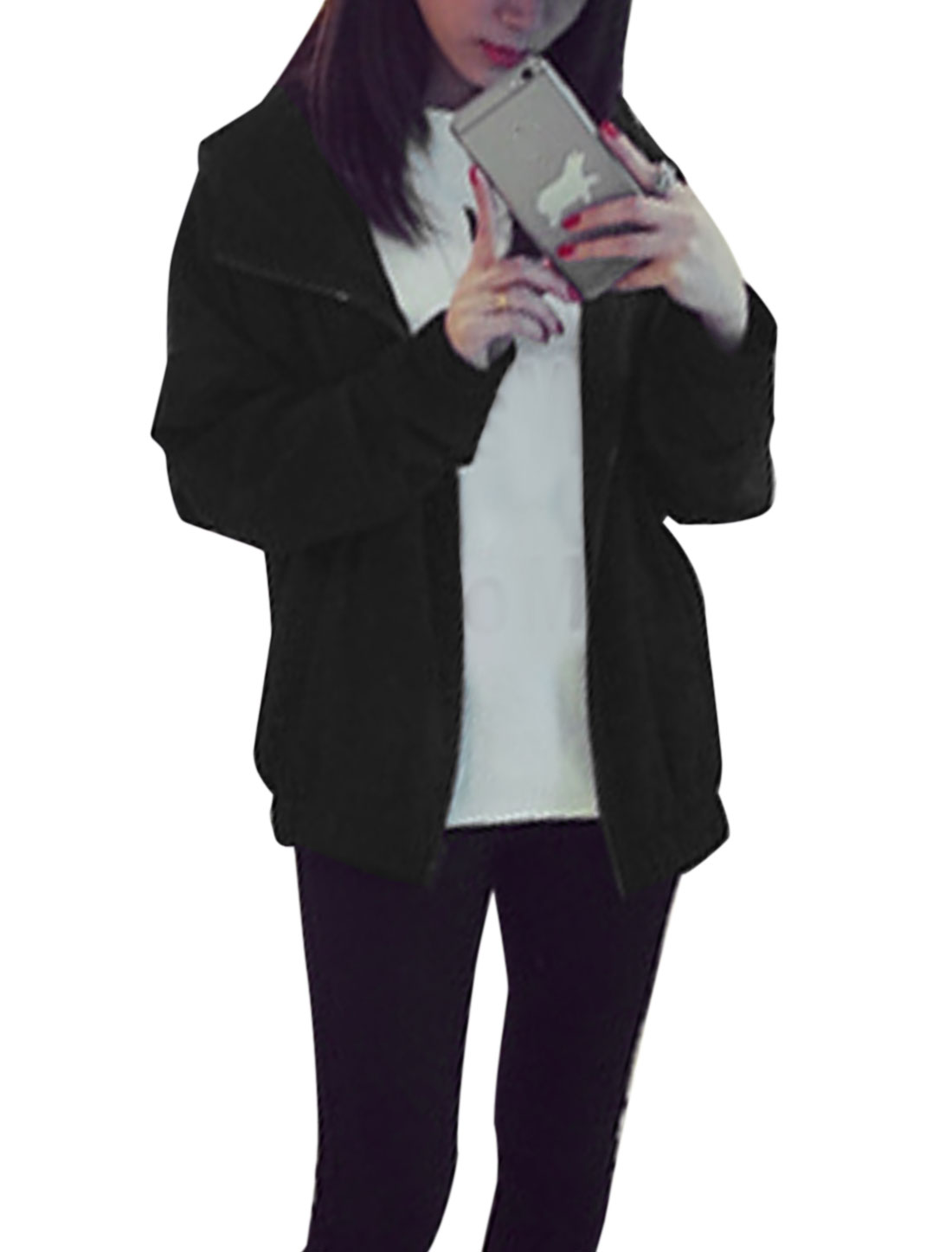 Women Side Pockets Batwing Sleeves Zip Up Hooded Jacket Black XS