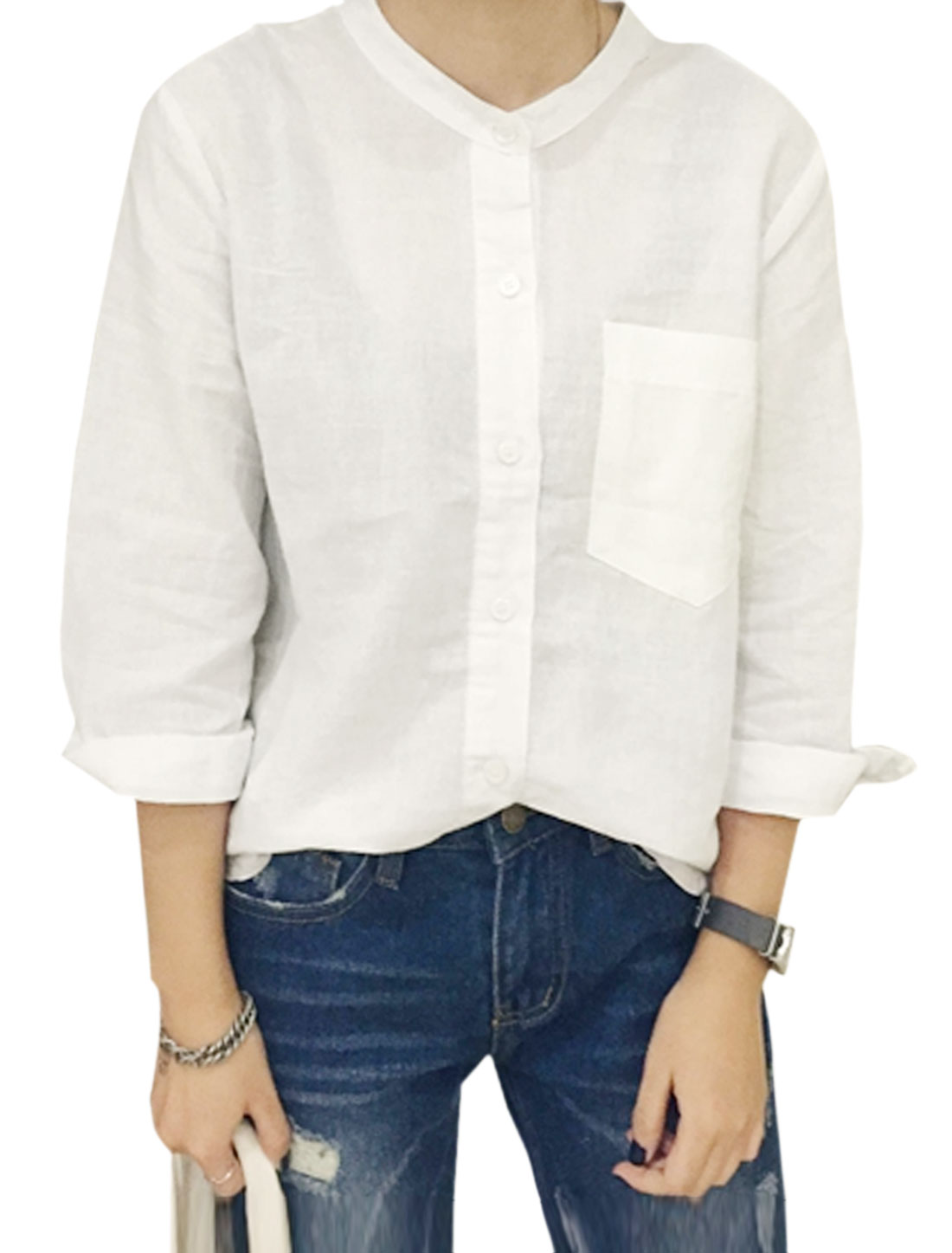 Women Stand Collar Single Breasted Chest Pocket Button Down Shirt White XS