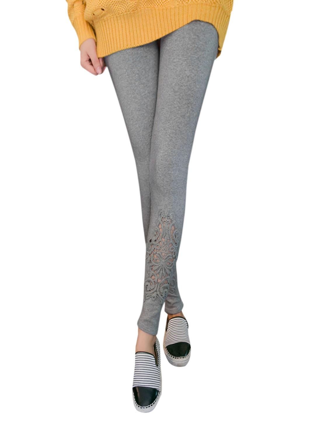 Woman High Rise Stretch Crochet Panel Leggings Dark Gray XS