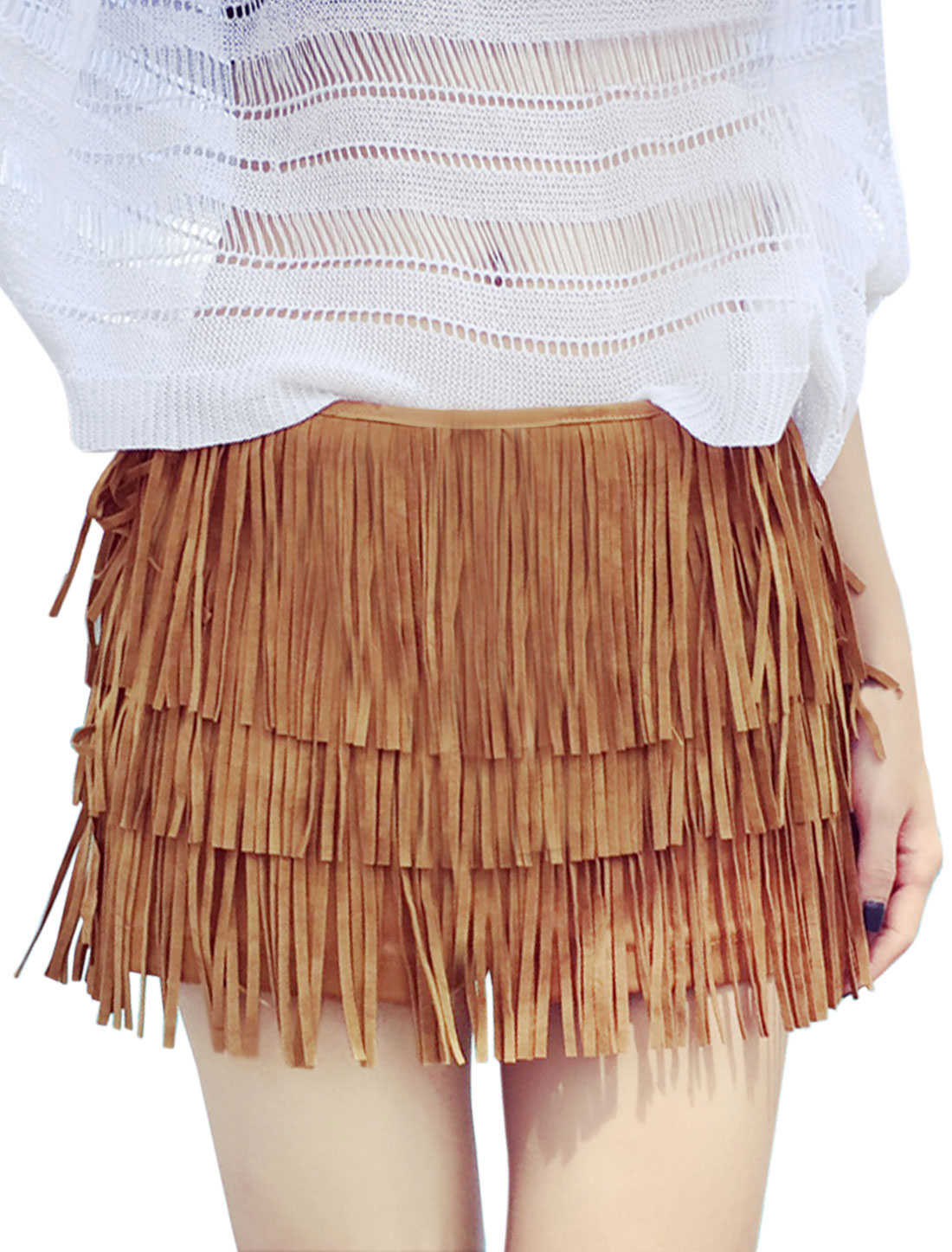 Women Mid Rise Tassels Design Tiered Casual Shorts Brown XS
