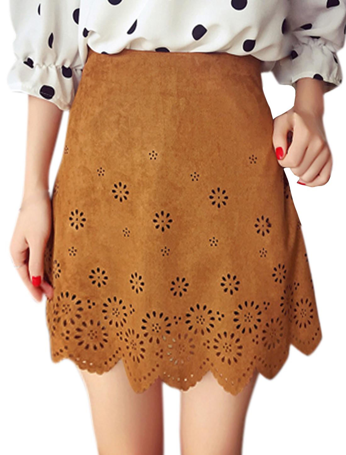 Women Hollow Out Scolloped Hem Mini A Line Skirt Camel S