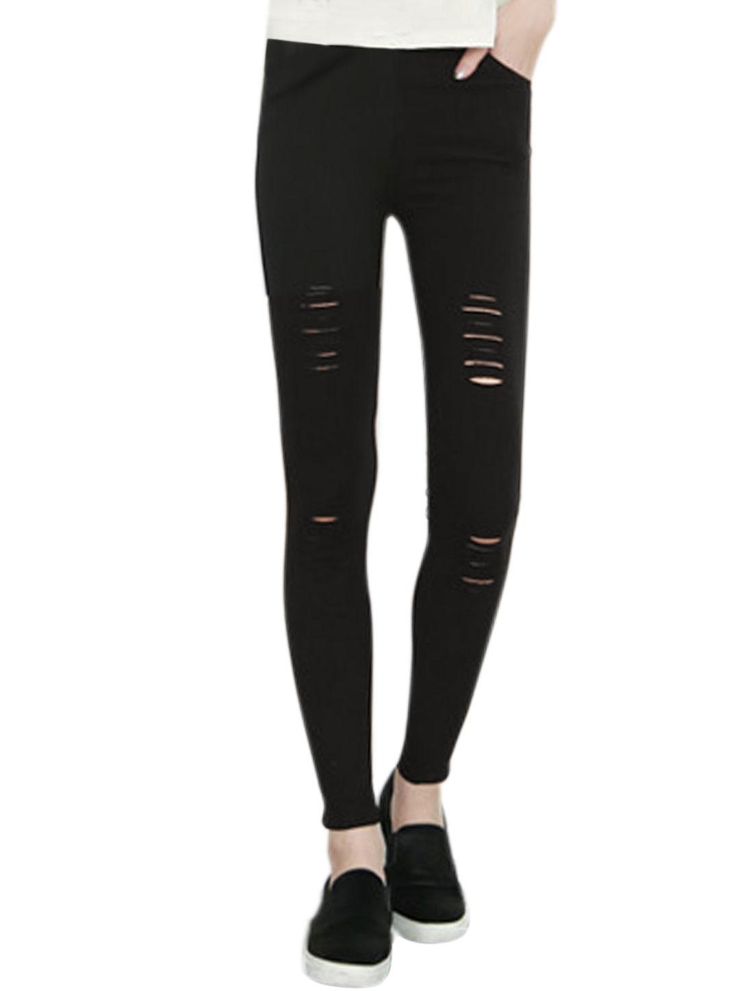 Ladies High Waist Destroyed Design Skinny Pencil Pants Black XS