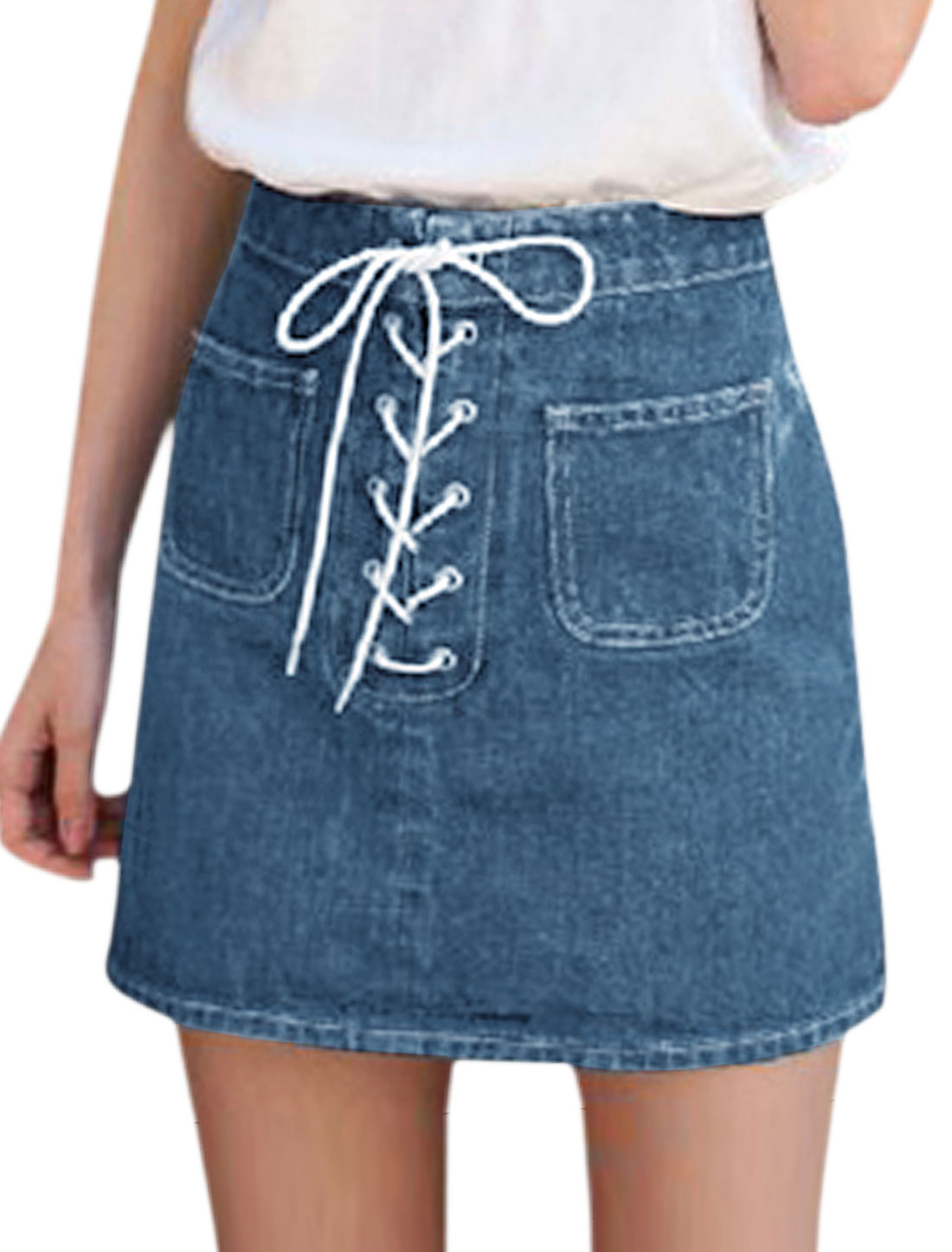 Women High Rise Lace Up Front Pockets Mini Denim Skirt Blue M