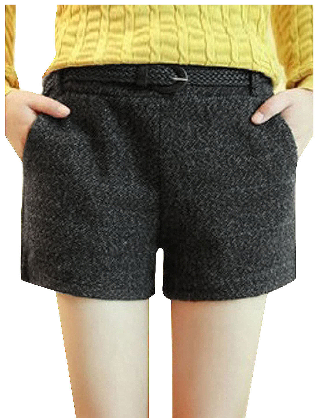 Women Elastic Waist Two Slant Pockets Casual Worsted Shorts w Belt Black XS