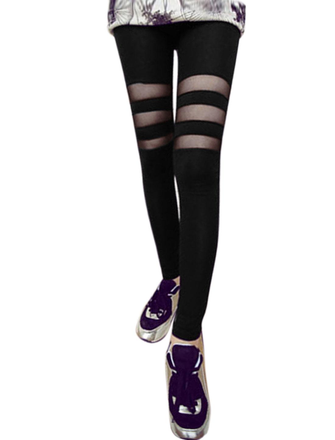 Women Elastic Waist Skinny Mesh Panel Stripes Leggings Black XS