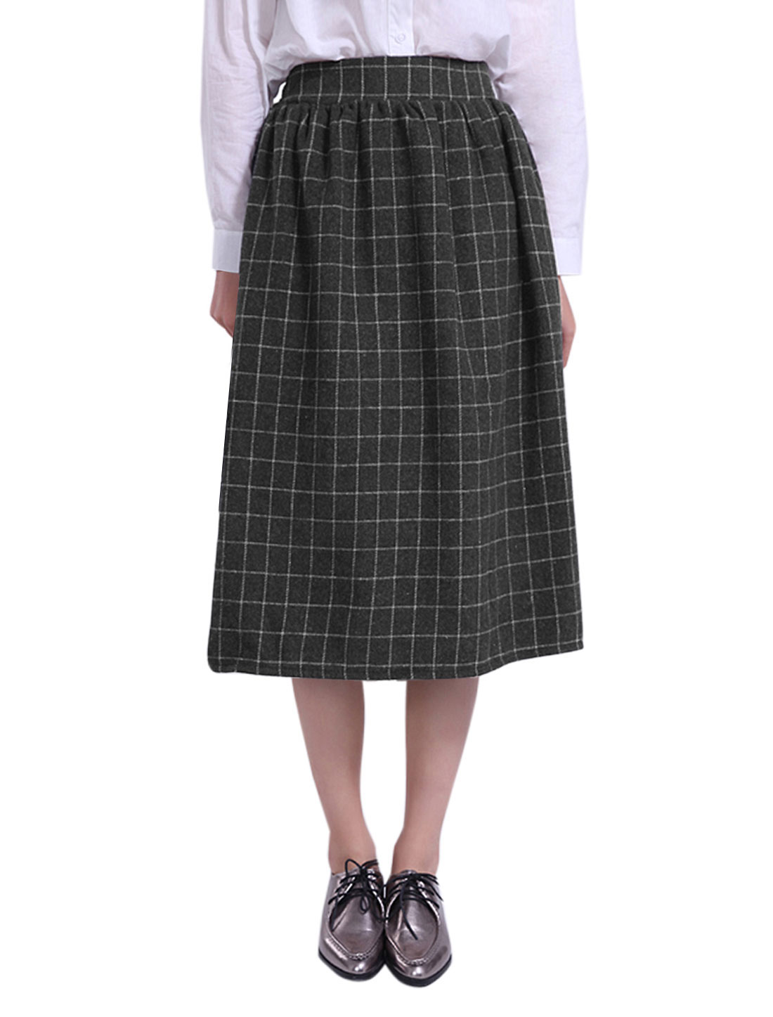 Women Elastic Waist Plaids Worsted A Line Midi Skirt Gray M
