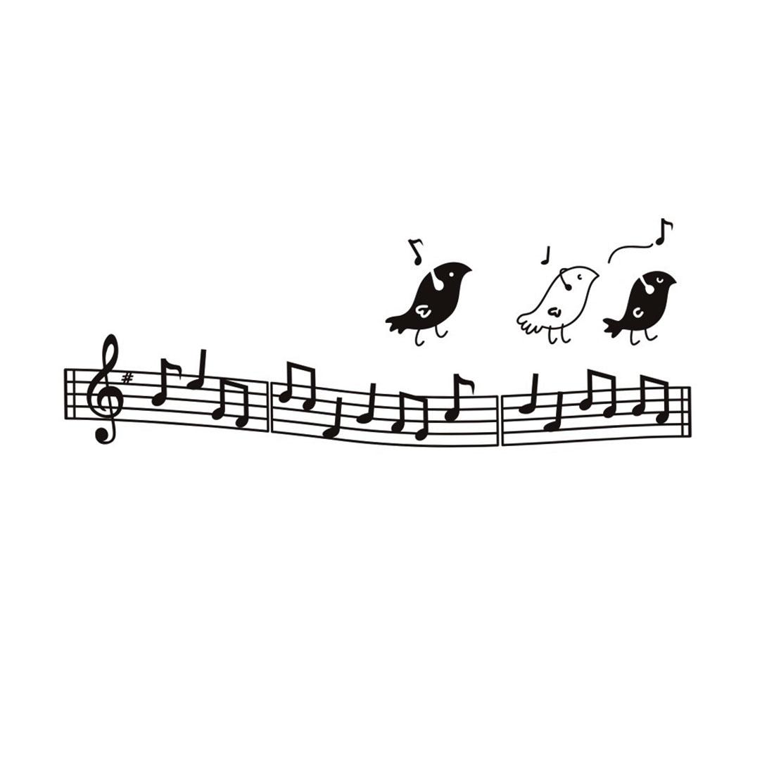 Music Score Birds Pattern Black Wall Sticker Room Art Decal Mural Decor 44x58cm