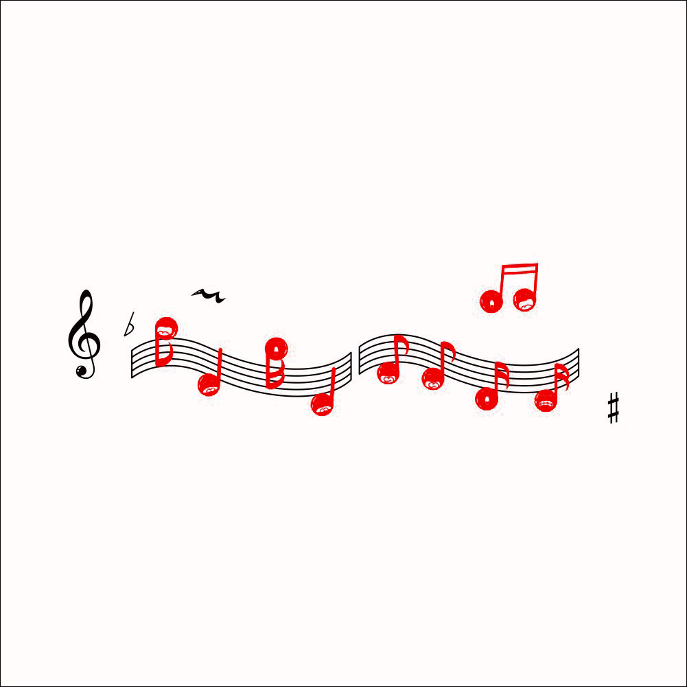 Music Note Pattern Room Decoration Removable Wall Sticker Mural Decal Set 2 in 1