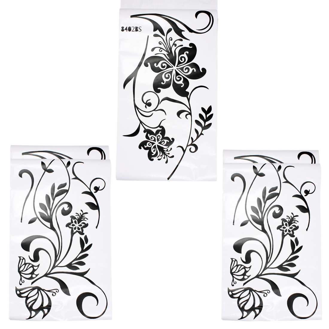 Black Butterfly Flower Pattern Wall Sticker Room Art Decal Mural Home Decor Set 3 in 1