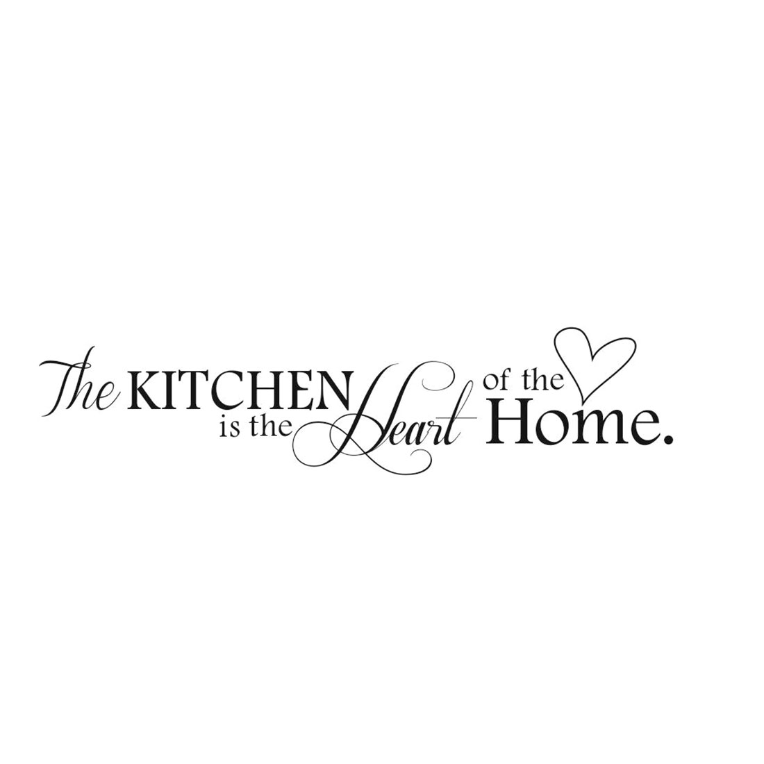 Removable Kitchen Heart Pattern Black Wall Sticker Home Mural Art DIY Decal Decor