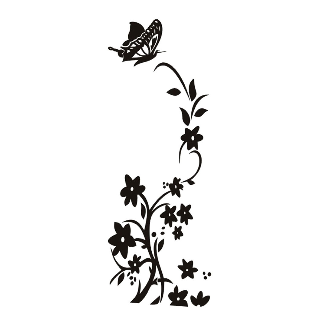 Butterfly Vine Pattern Refrigerator Decal Room Mural Art Wall Stickers Black