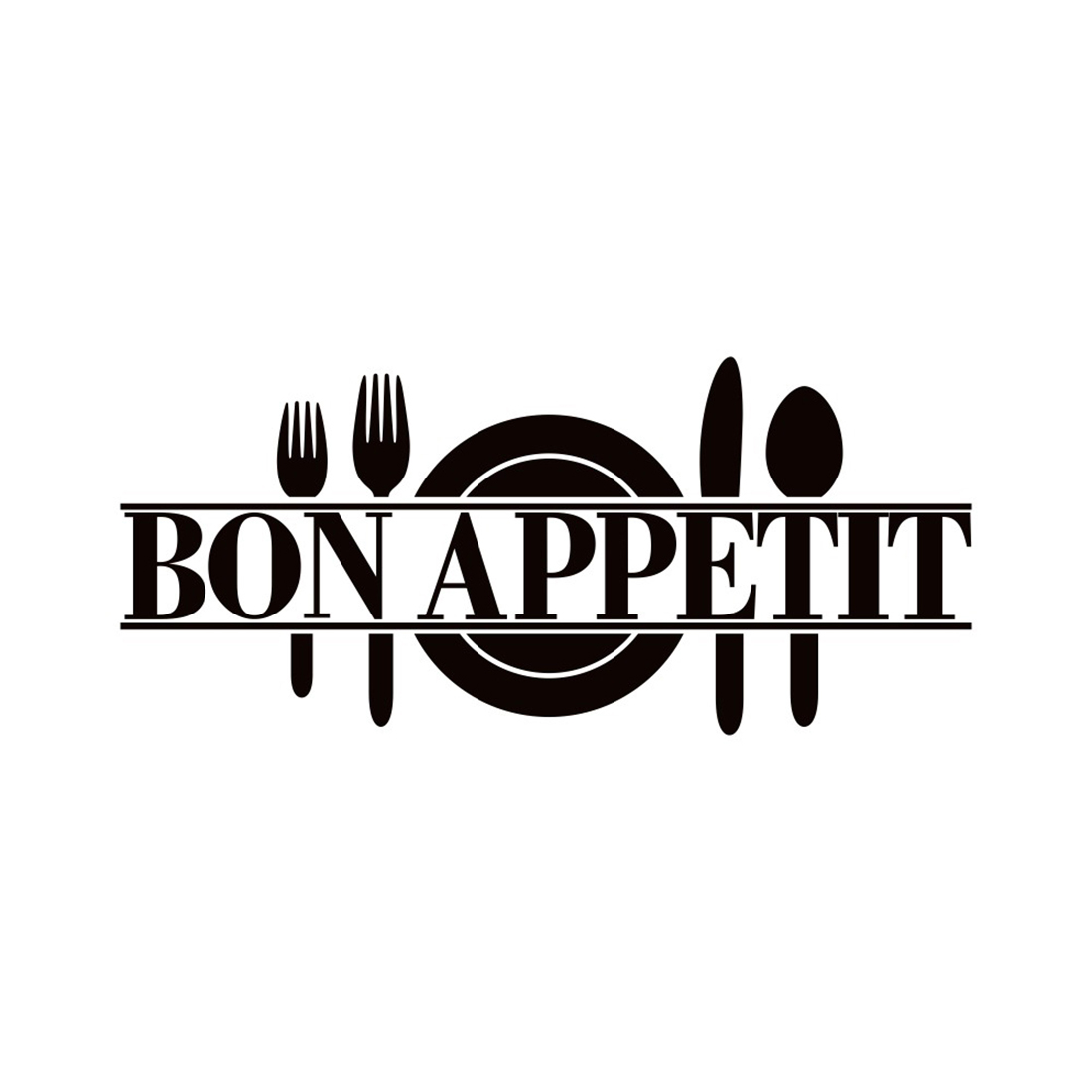 Bon Appetit Cutlery Pattern Kitchen Removable Wall Decal Decor 60x25cm Black