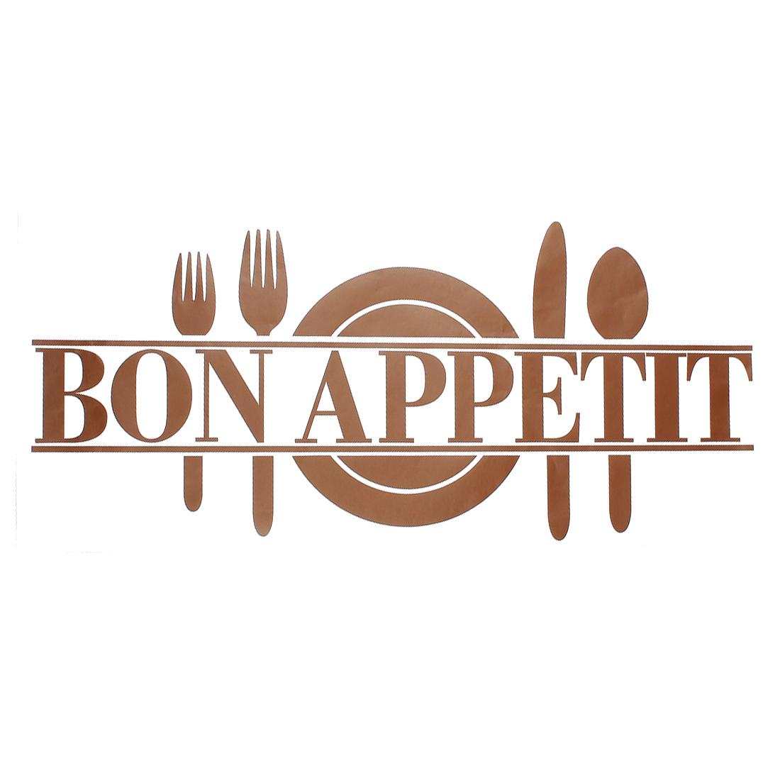 Bon Appetit Cutlery Pattern Restaurant Decor Wall Sticker Decal 60x25cm Brown