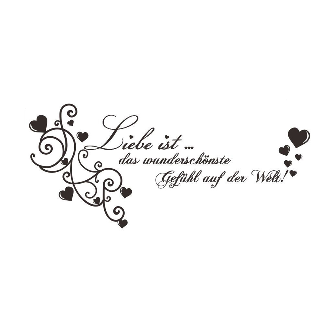 German Hearts Pattern Water Resistant Wall Sticker Art Decal Room Decor 50x41cm