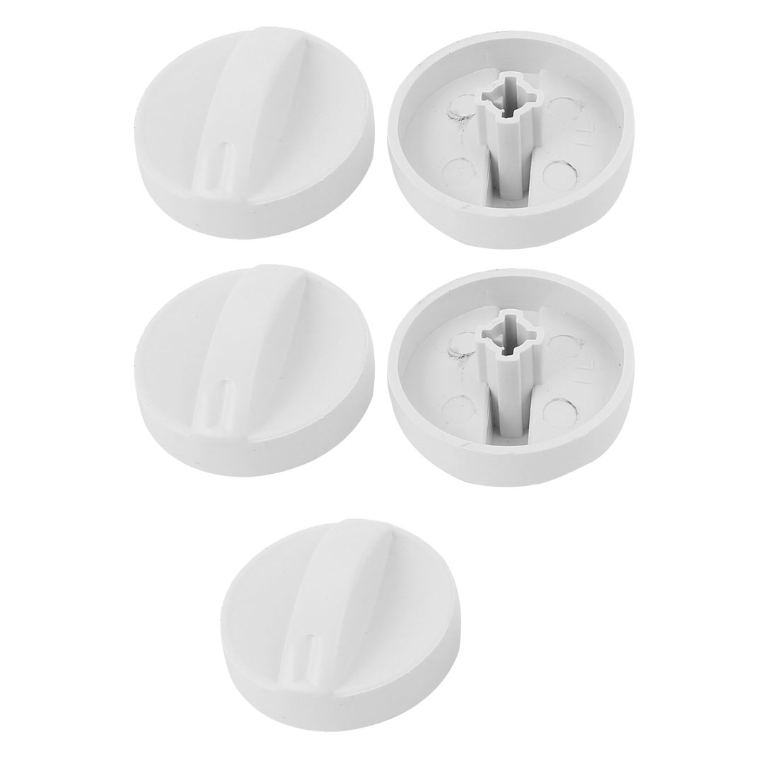 Cross Slot Washing Machine Timer Turning Knob 6mm Inner Dia White 5pcs