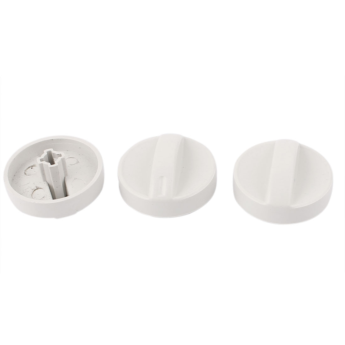 Washing Machine Cross Slot 6mm Inner Dia Turning Timer Knob White 3pcs