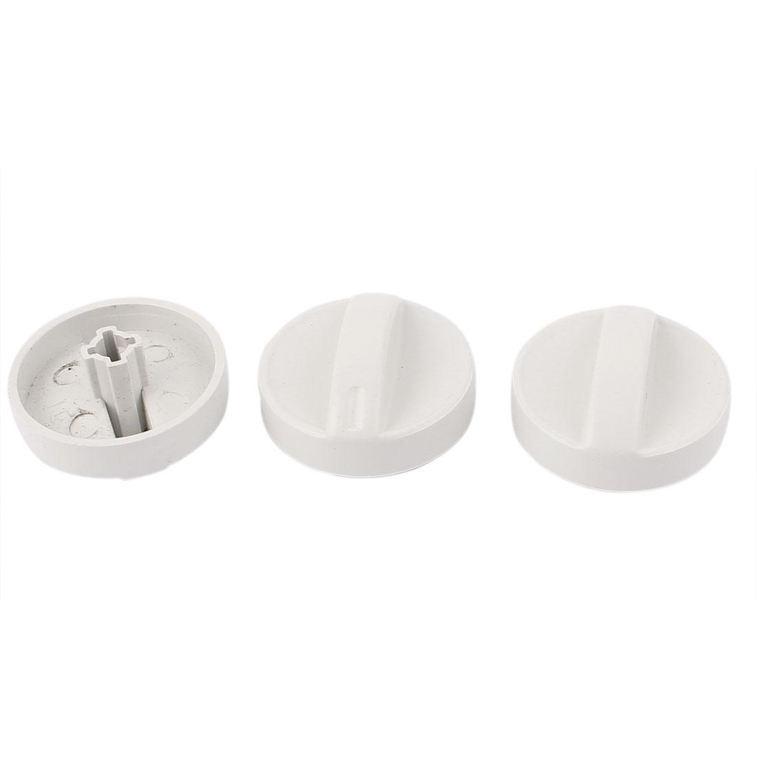 Washing Machine Cross Slot 6mm Inner Dia Turning Timer Knob White 3pcs