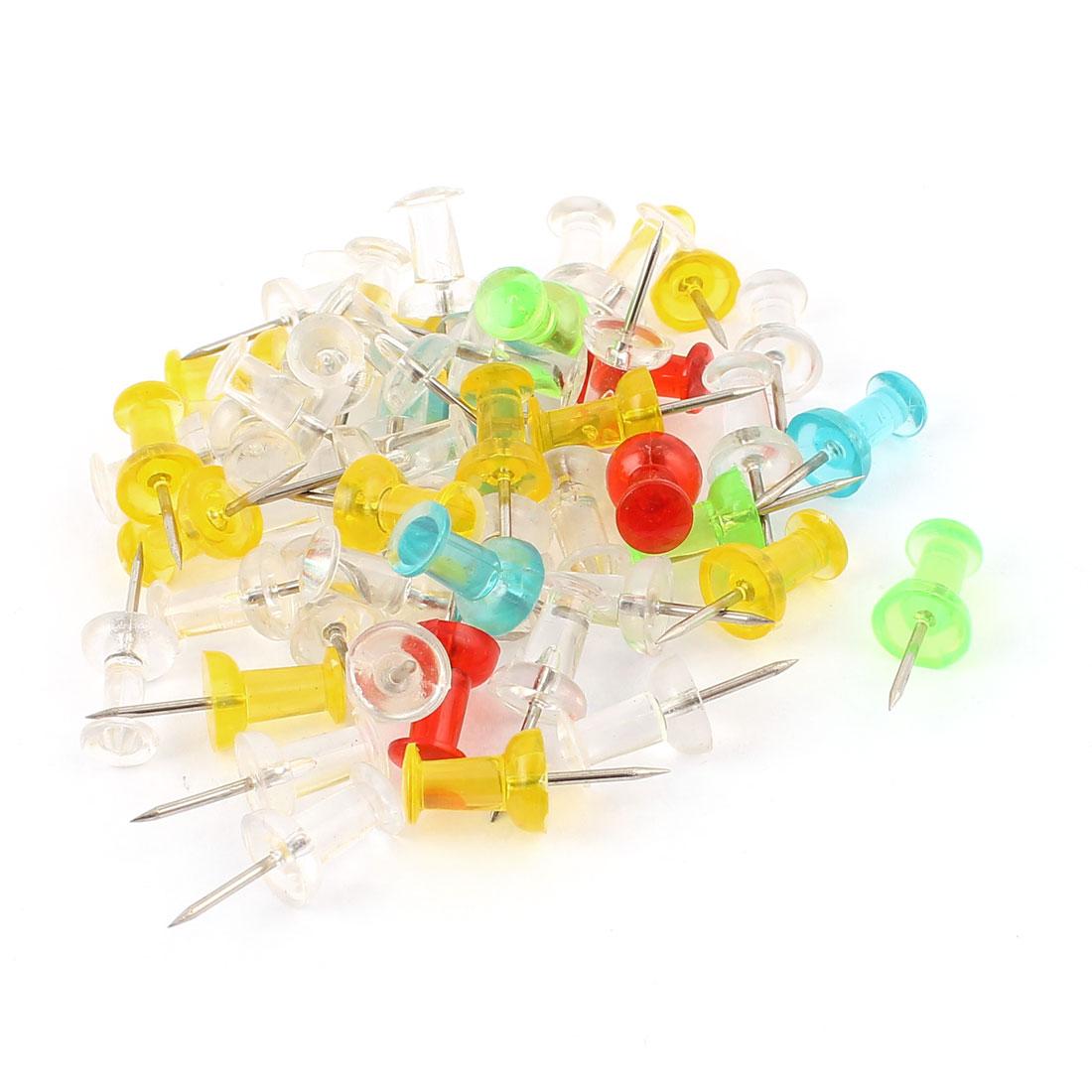Office Plastic Head Thumb Tack Push Pins Bulletin Board Holder Colorful 50pcs