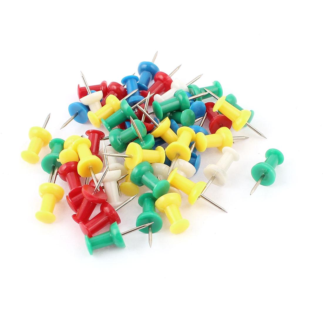 Plastic Head Push Pins Thumbtacks Thumb Tacks Sticker Assorted Color 50pcs