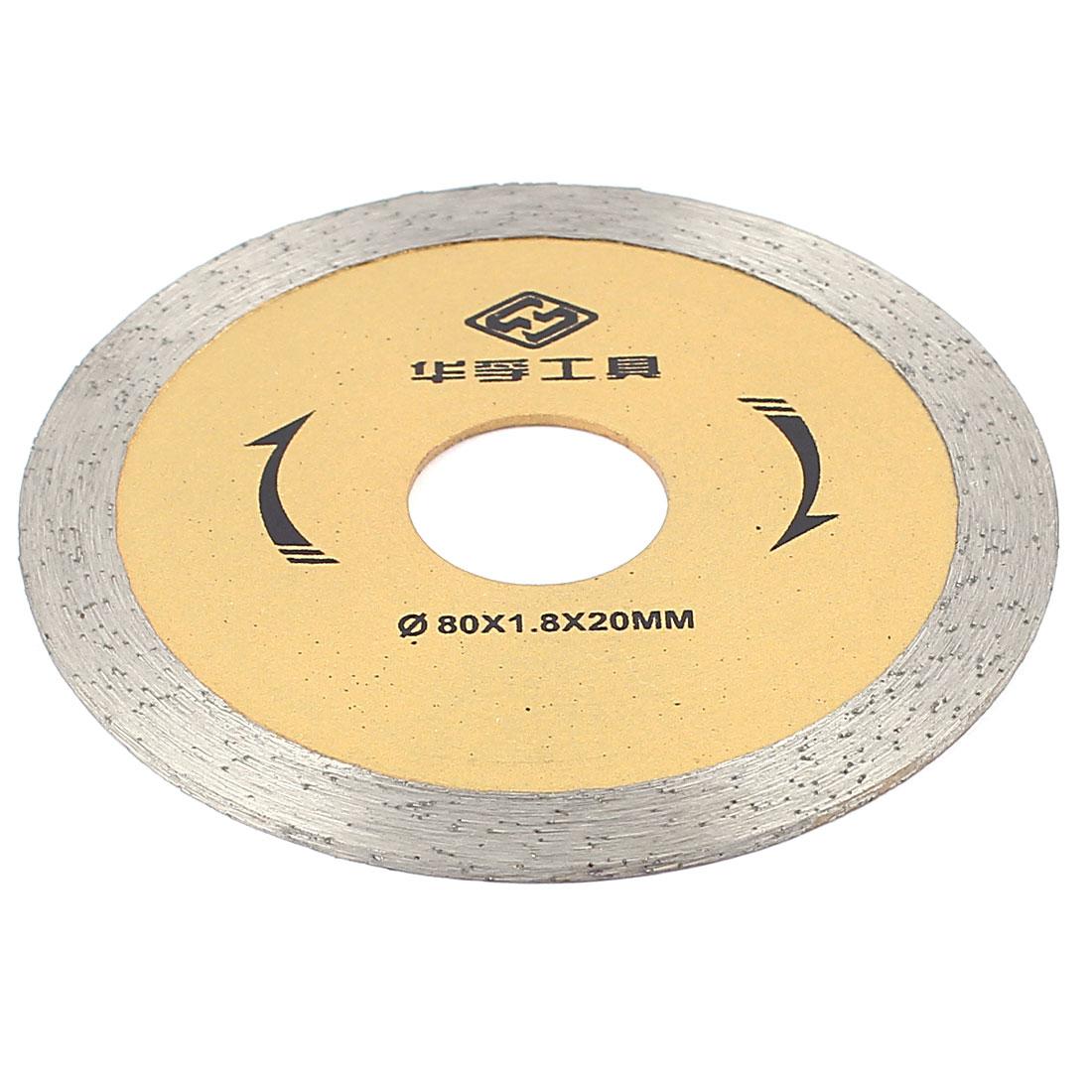Diamond Stone Circular Tipped Saw Cutter Tile Cut Tool 80mmx1.8mmx20mm