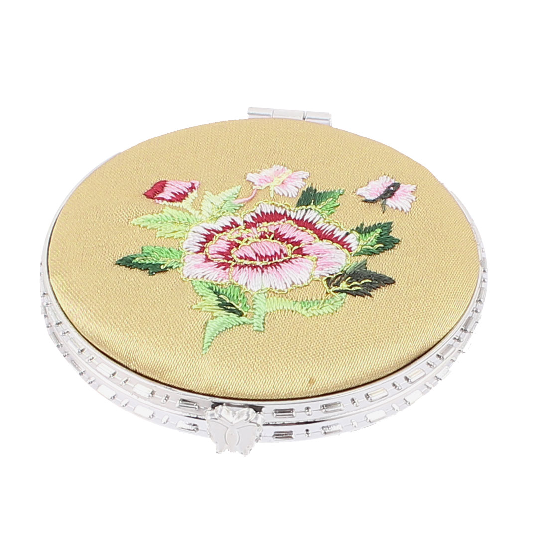 Embroider Manmade Silk Round Pocket Carrying Makeup Cosmetic Mirror Beige