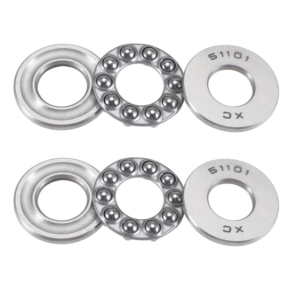 2pcs 51101 Axial Ball Thrust Bearing 3-Parts 26mmx12mmx9mm