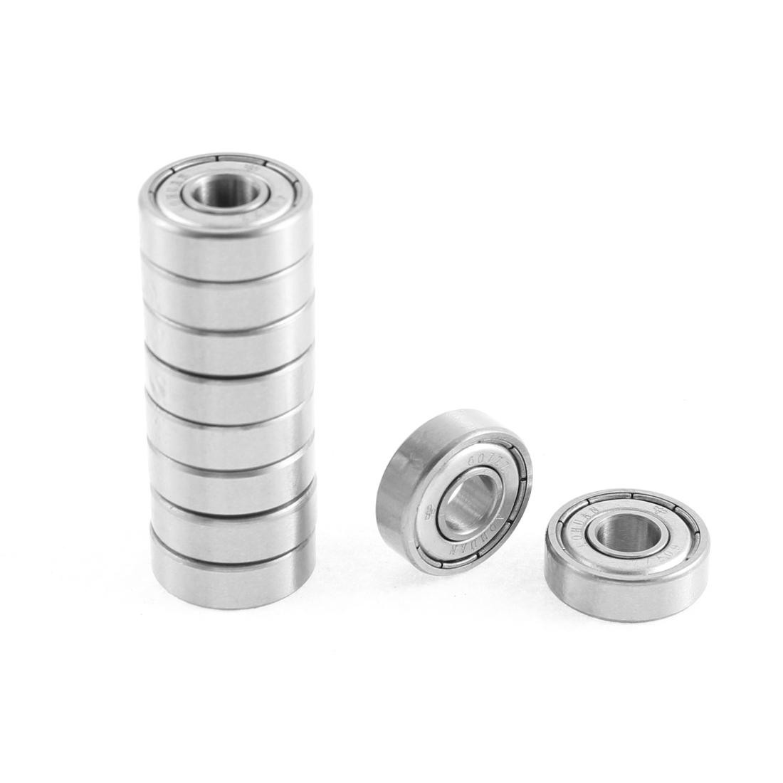 10 Pcs 607ZZ 19mmx7mmx6mm Single Row Deep Groove Ball Bearing Silver Tone