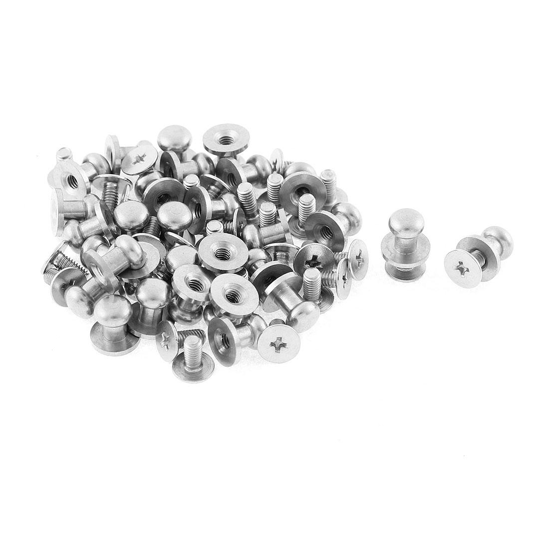 Furniture Drawer 8mm x 8mm Zinc Alloy Round Pull Knob Silver Tone w Screws 30 Pcs