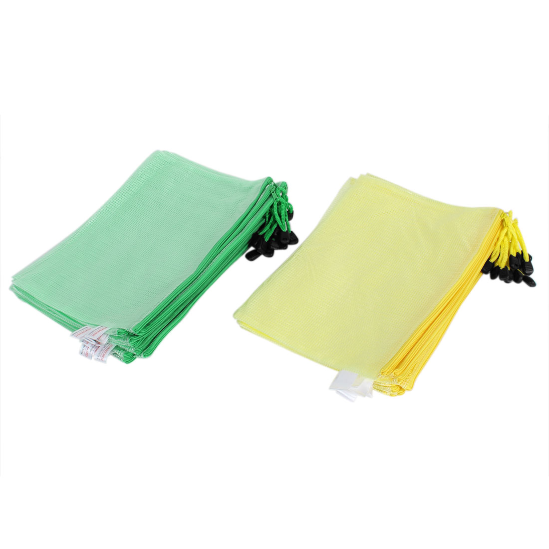 Office School Zipper Closure B5 Paper Document File Bag Holder Organizer Pouch Green Yellow w Strap 24 pcs