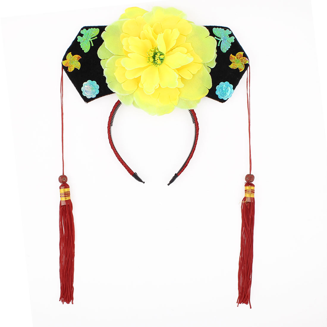 Girls Yellow Floral Decor Oriental Chinese Princess Hairband Hat Headdress Headband