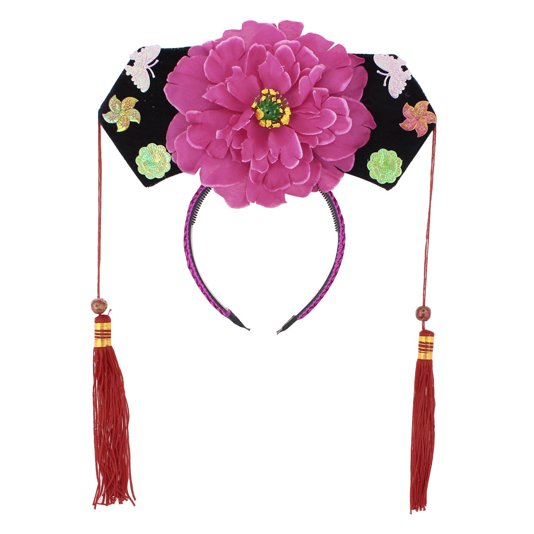 Girls Pink Black Floral Decor Oriental Chinese Princess Hairband Hat Headdress Headband